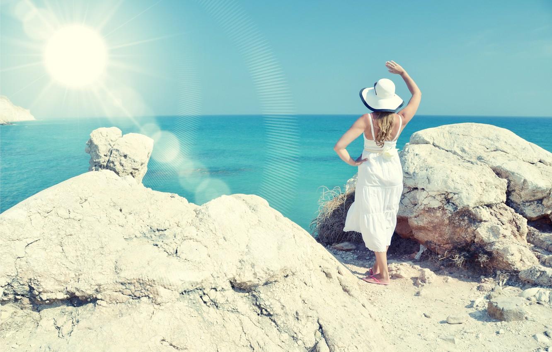 Photo wallpaper sea, beach, summer, girl, the sun, stay, hat, summer, beach, vacation, sea, sun, holiday, vacation