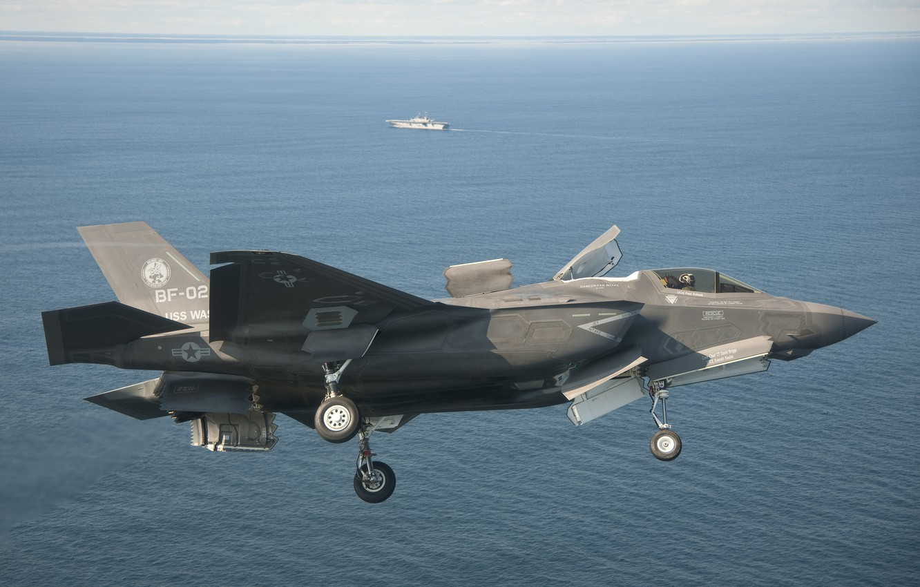 Photo wallpaper fighter, and vertical landing, with short takeoff, STOVL, the landing maneuver, lockheed martin f-35В