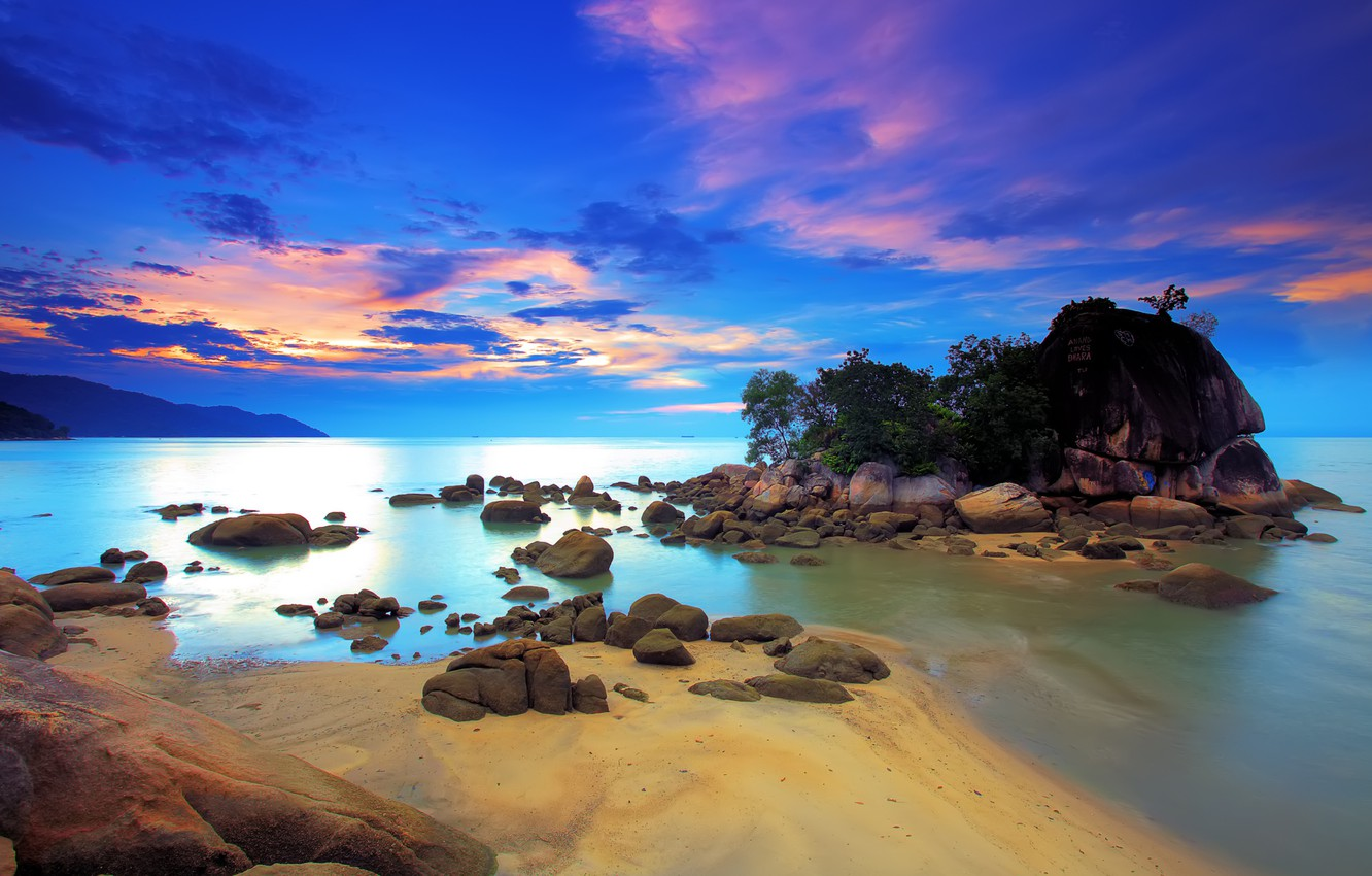 Photo wallpaper sea, the sky, clouds, trees, sunset, rock, stones, glow