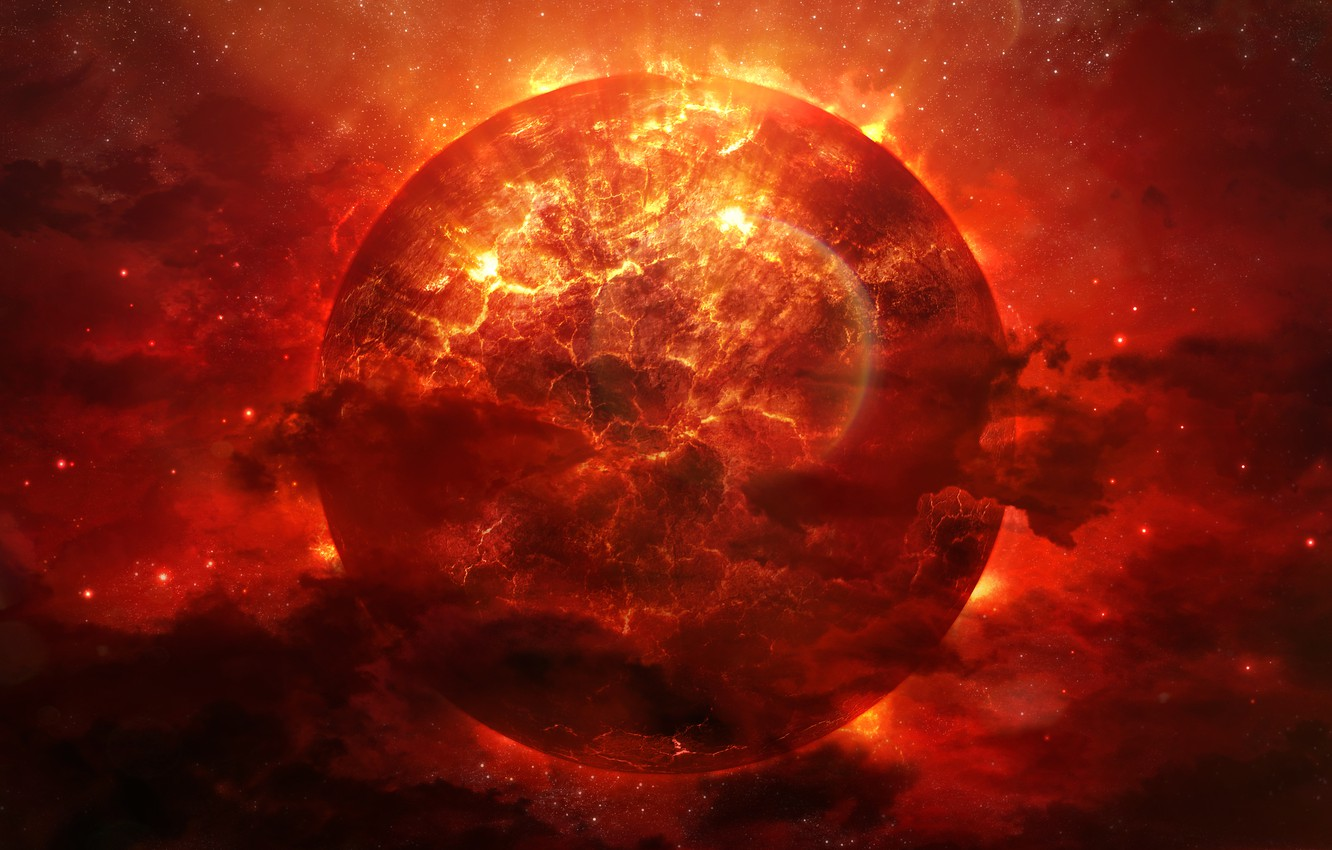 Photo wallpaper energy, space, the explosion, nebula, cracked, fire, planet, art, red, faults, Alienphysique, Katherl Hannes