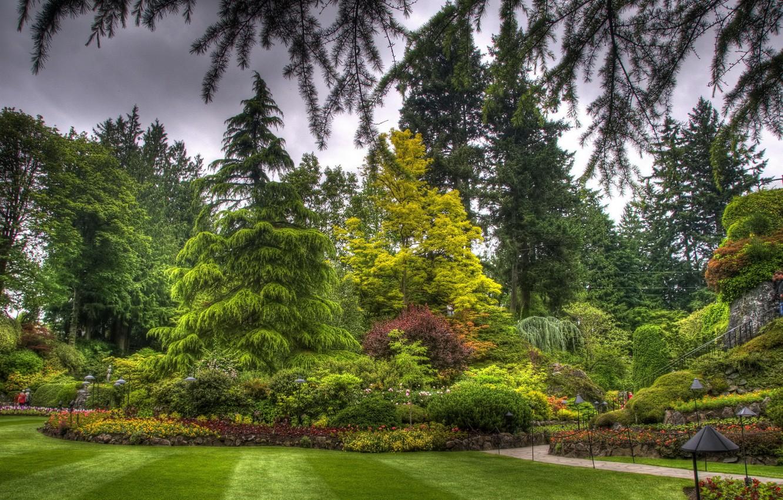 Photo wallpaper grass, trees, flowers, Park, lawn, landscape, Canada, flowerbed, butchart victoria