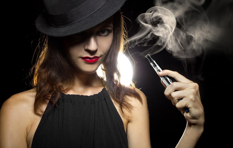 Photo wallpaper sexy, smoke, brunette, look
