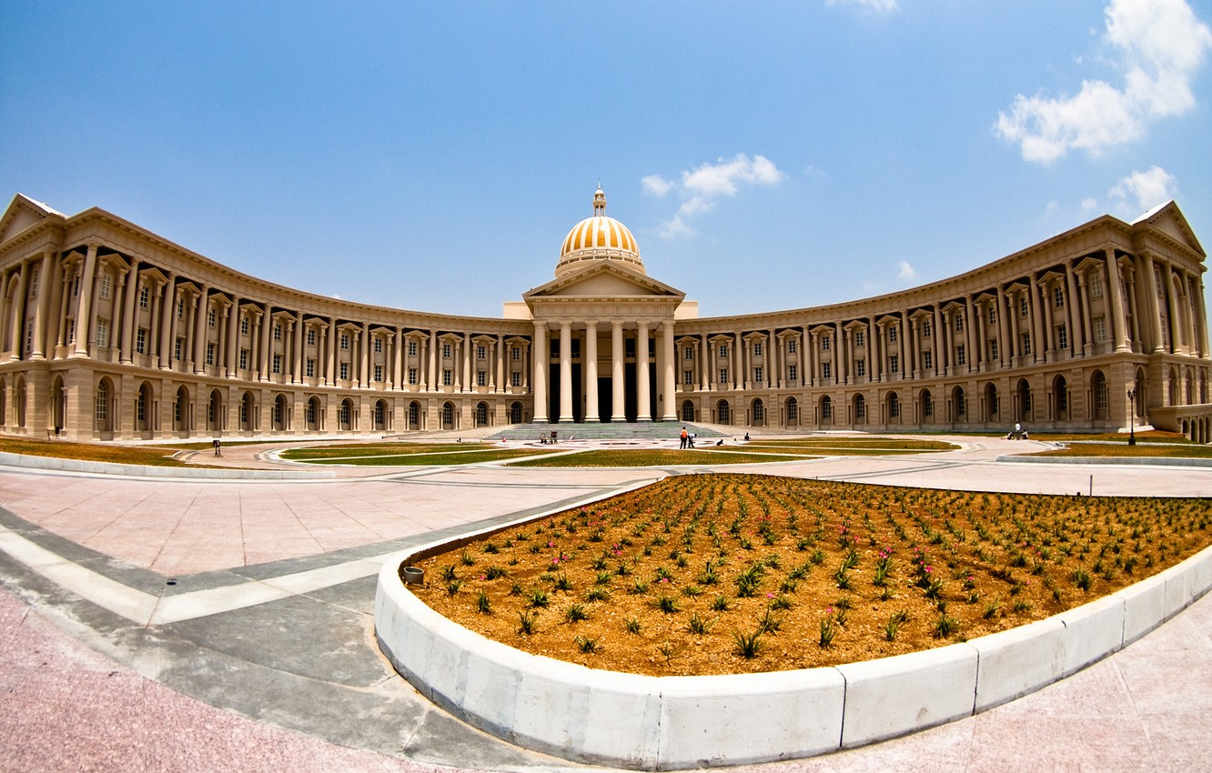 Photo wallpaper the building, panorama, flowerbed, the dome