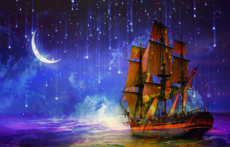 Photo wallpaper sea, night, ship, sailboat, stars, art, Crescent