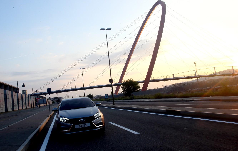 Photo wallpaper road, car, sedan, silver, Lada, new, Lada, Vesta, Vesta, 2180