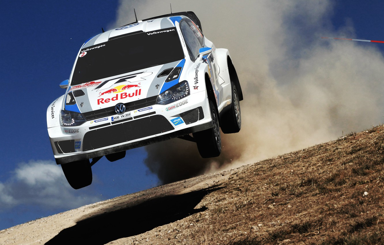 Photo wallpaper Auto, White, Volkswagen, Speed, Jump, Day, Lights, WRC, Rally, Polo, Ancestor