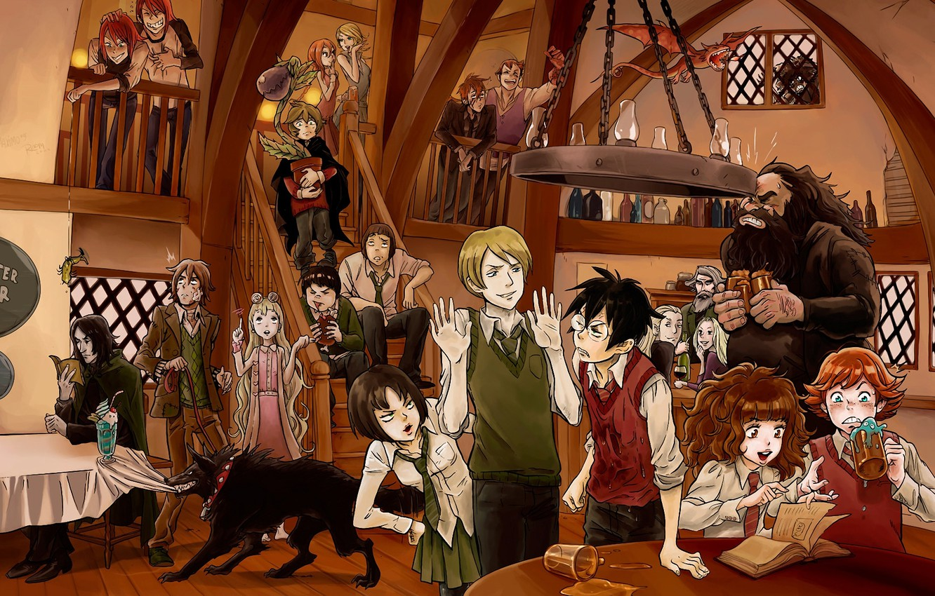 Photo wallpaper dragon, wolf, characters, Ron, Hermione, harry potter, gagret, the pub, Bedlam