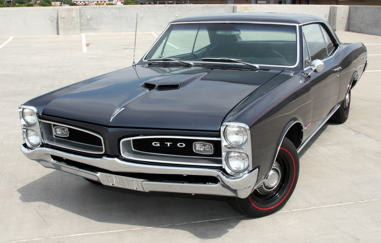 Photo wallpaper muscle car, classic, Coupe, Pontiac, GTO, the front, 1966, Pontiac, Tempest, Hardtop