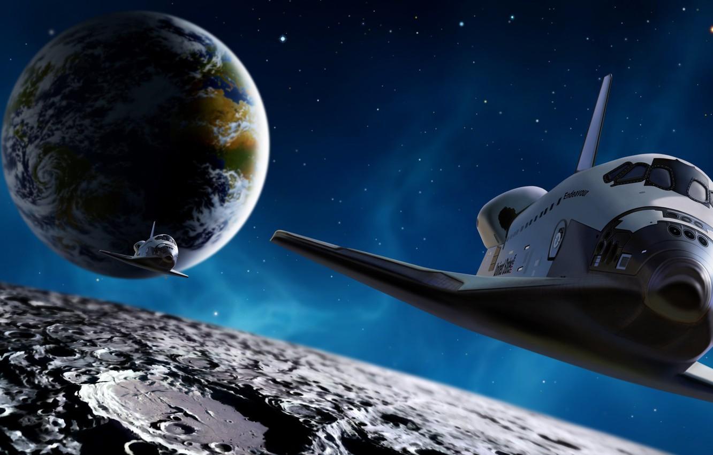 Photo wallpaper space, earth, the moon, Shuttle, endevour. stars