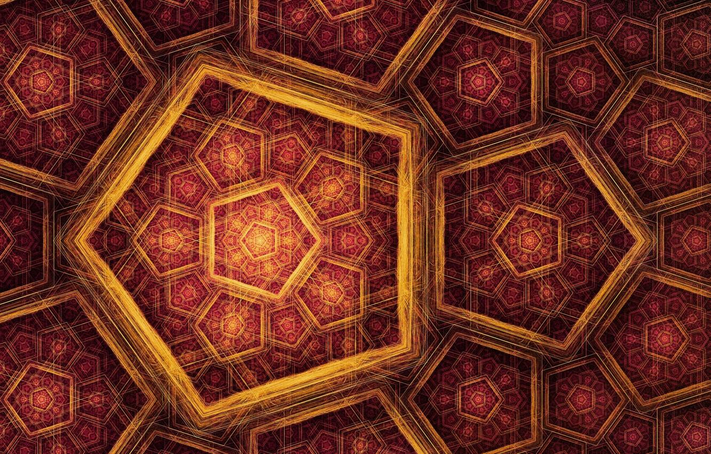 Photo wallpaper mosaic, gold, patterns, art, fractal, figure