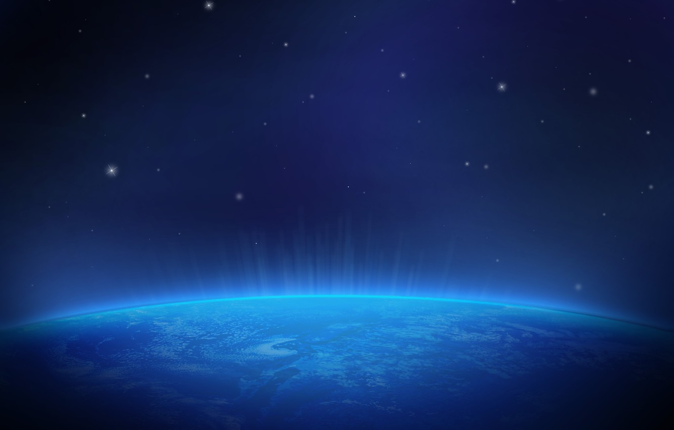 Photo wallpaper space, lights, Earth