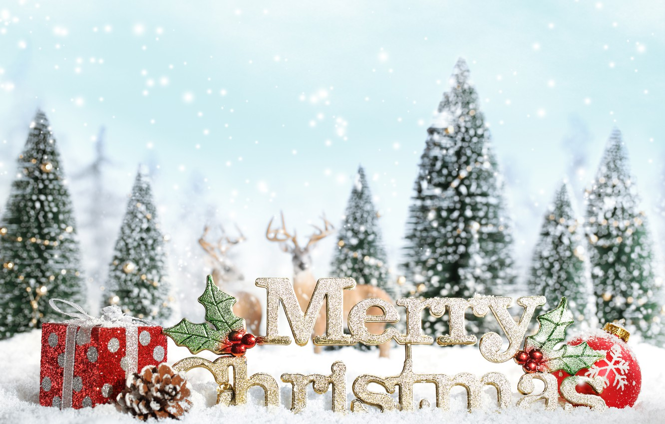 Photo wallpaper snow, decoration, snowflakes, tree, new year, gifts, new year, deer, snow, ornaments, merry christmas, decoration, …