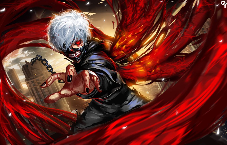 Photo wallpaper look, blood, anime, art, chain, Liang xing, Tokyo Ghoul, Ken Kanek, Tokyo Ghoul