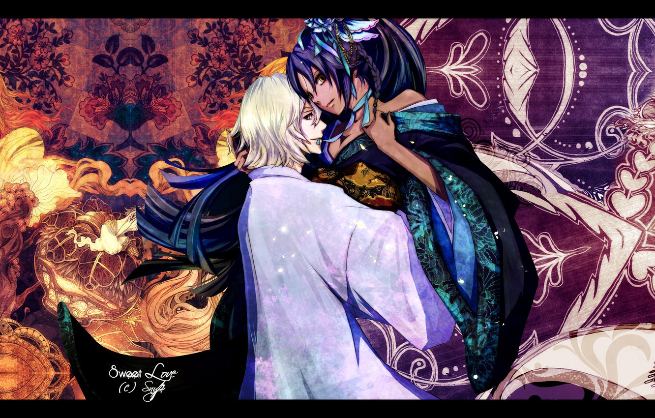 Photo wallpaper flowers, patterns, hugs, kimono, two, Bleach, bleach, Bleach Urahara, Shihouin Yoruichi