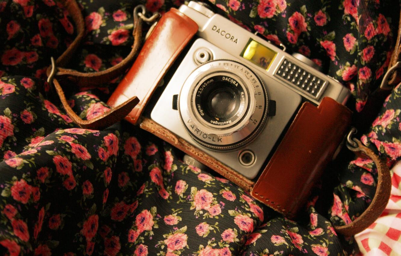 Photo wallpaper camera, the camera, fabric