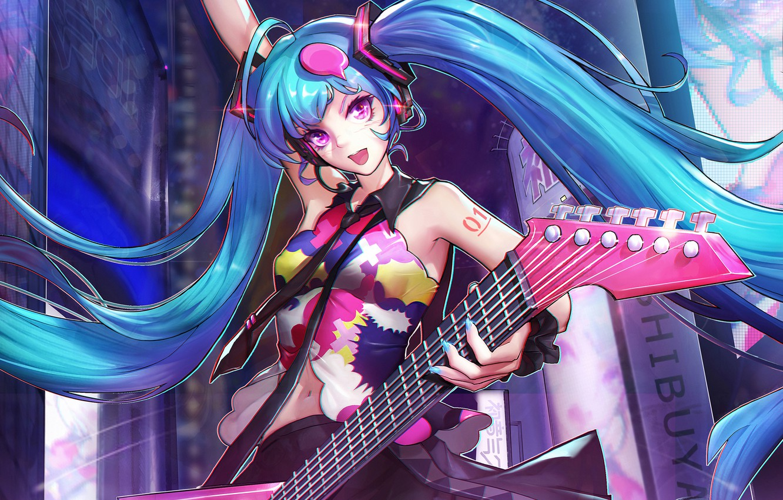 Photo wallpaper girl, guitar, anime, art, Hatsune Miku, Vocaloid