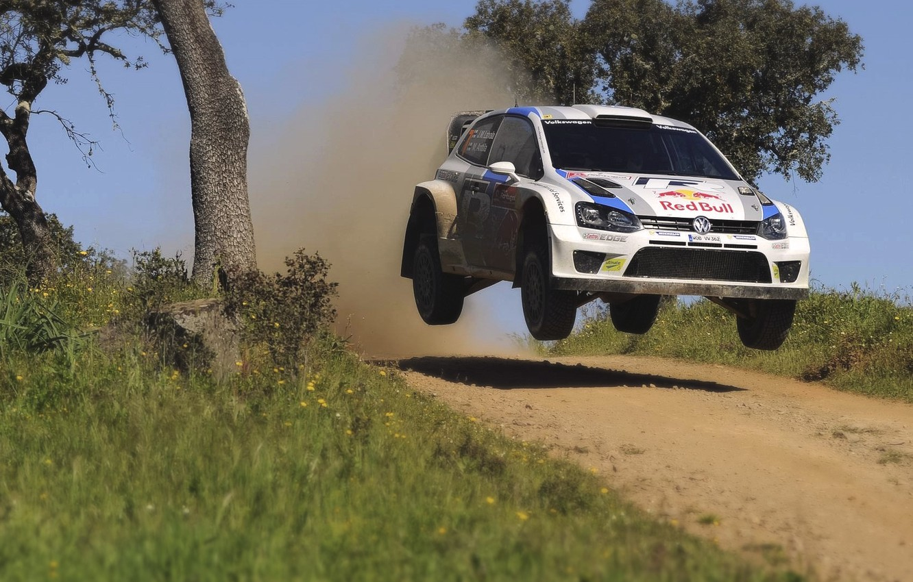 Photo wallpaper Auto, White, Sport, Volkswagen, Machine, Speed, Portugal, Car, Red Bull, WRC, Rally, Rally, Polo, In …