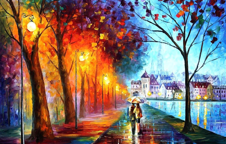 Photo wallpaper trees, the city, Park, river, umbrella, rain, home, umbrella, art, lights, pair, a couple, leonid …