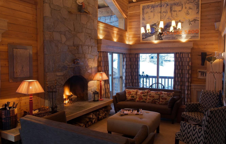Photo wallpaper design, retro, sofa, interior, picture, chandelier, fireplace, living room