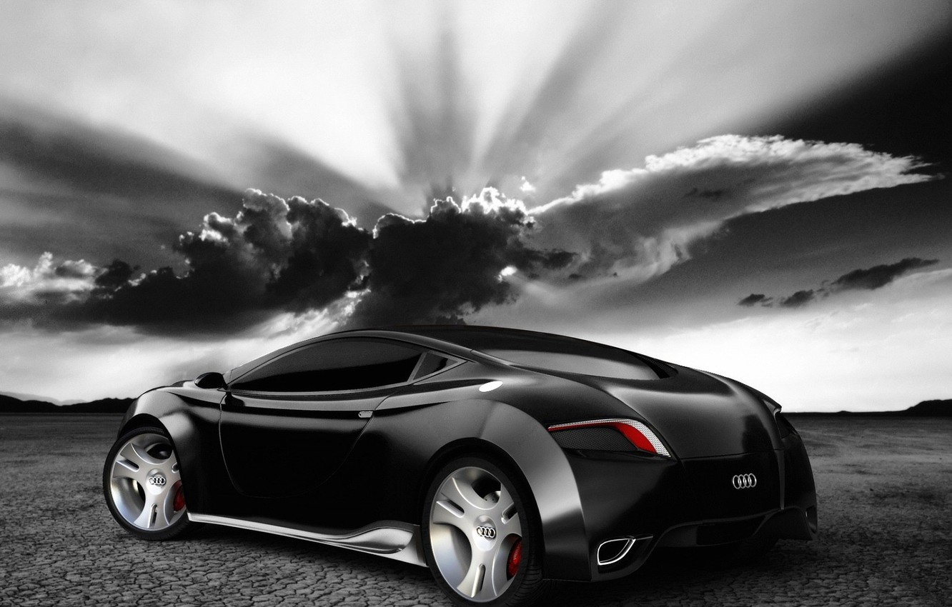 Photo wallpaper clouds, light, black and white, AUDI