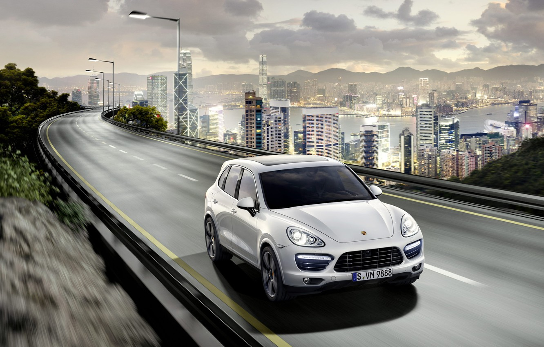 Photo wallpaper road, the city, Porsche, Porsche, Porsche Cayenne, skyscrapers, Cayenne, porcien, cayenne-turbo