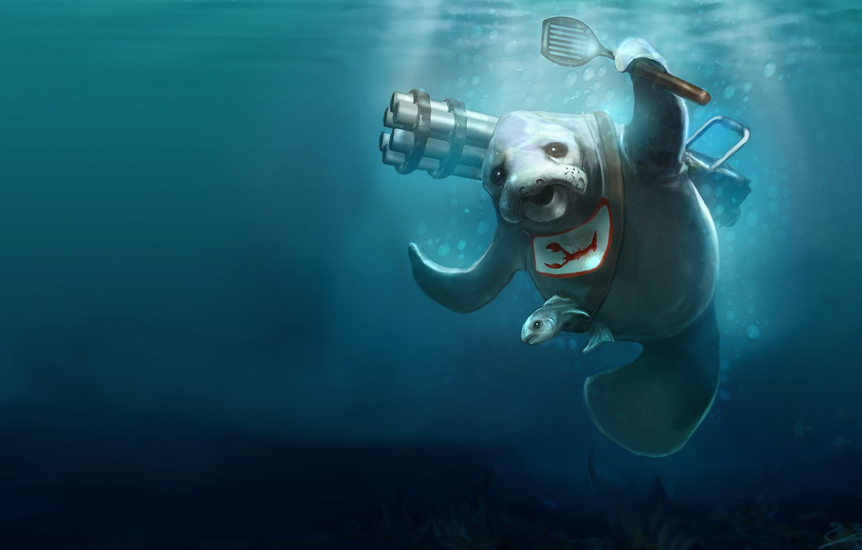Photo wallpaper rendering, fish, blue background, machine gun, apron, minigun, Gatling, manatee, sea cow, blade, kitchen