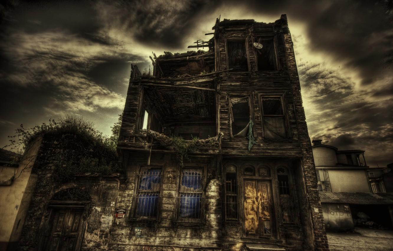 Photo wallpaper House, windows, walls, ruins, door