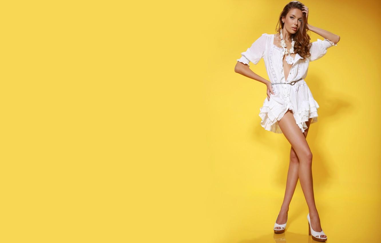 Photo wallpaper look, model, dress, blonde, legs