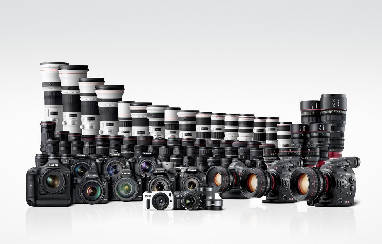 Photo wallpaper Wallpaper, white background, Canon, cameras, EOS, lenses, camcorder
