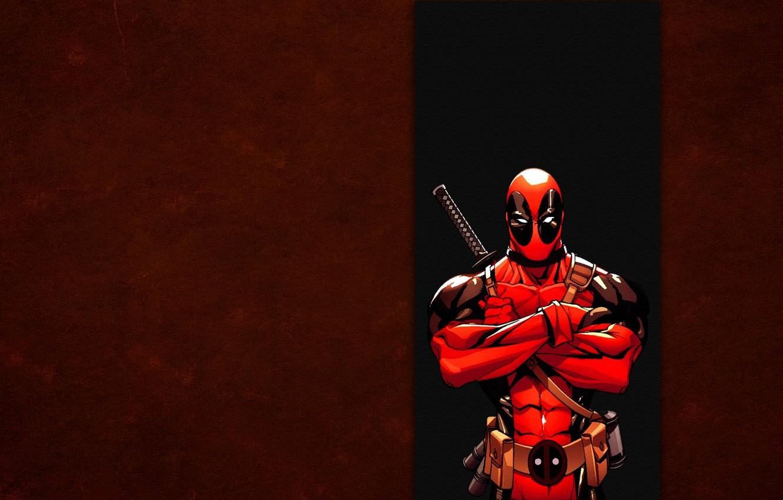 Photo wallpaper red, strip, marvel, Deadpool, Deadpool, comic, Wade Wilson