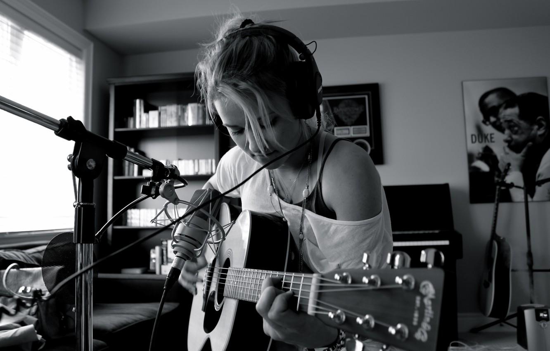Wallpaper Music Girl Guitar Photo Headphones Microphone
