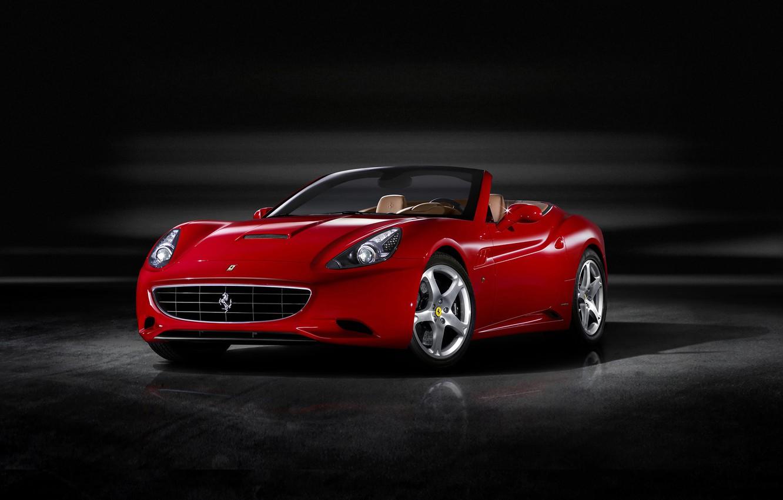 Photo wallpaper Red, Auto, Machine, Ferrari, Ferrari, Lights, California, the front, Sports car