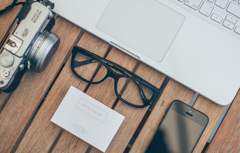 Photo wallpaper glasses, the camera, iphone, macbook, iPhone, MacBook, card