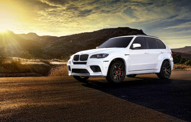 Photo wallpaper BMW, white, wheels, tuning, X5M, frontside