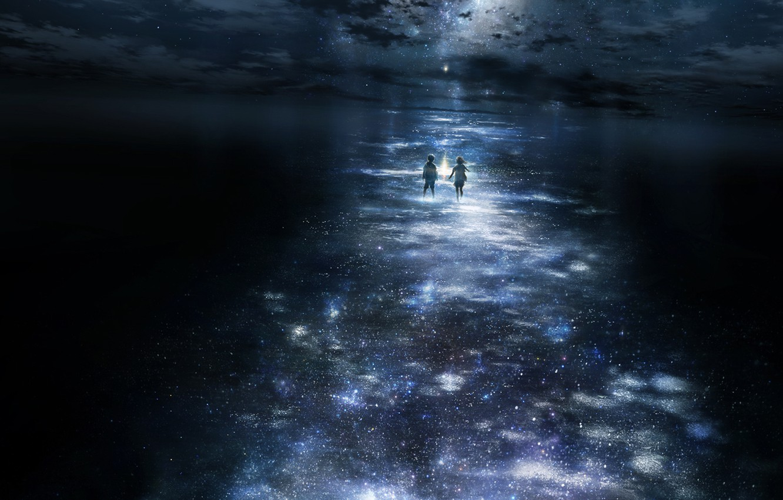 Photo wallpaper stars, night, children, moonlight