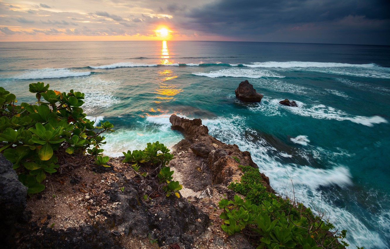 Photo wallpaper wave, the sky, landscape, sunset, tropics, the ocean, rocks, stay, coast, blur, Bali, Indonesia, summer, …