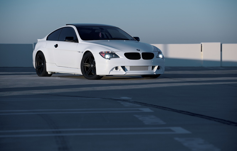 Photo wallpaper white, bmw, BMW, white, e63, black rims
