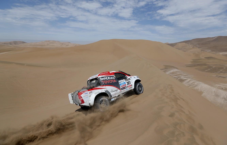 Photo wallpaper Sand, Turn, Toyota, Hilux, Rally, Dakar, Dakar, Toyota