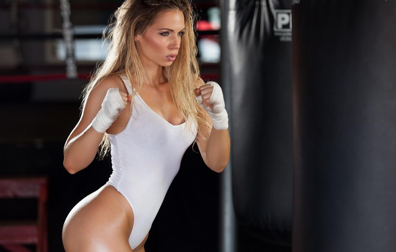 Photo wallpaper boxing, blonde, fitness, training, transpiration