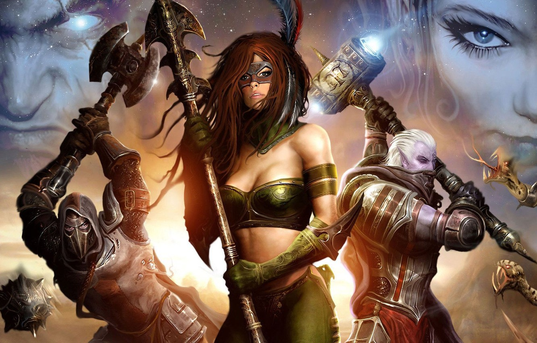 Wallpaper Girl War Mask Art Spear Axe Fantasy Warriors Images For Desktop Section Fantastika Download