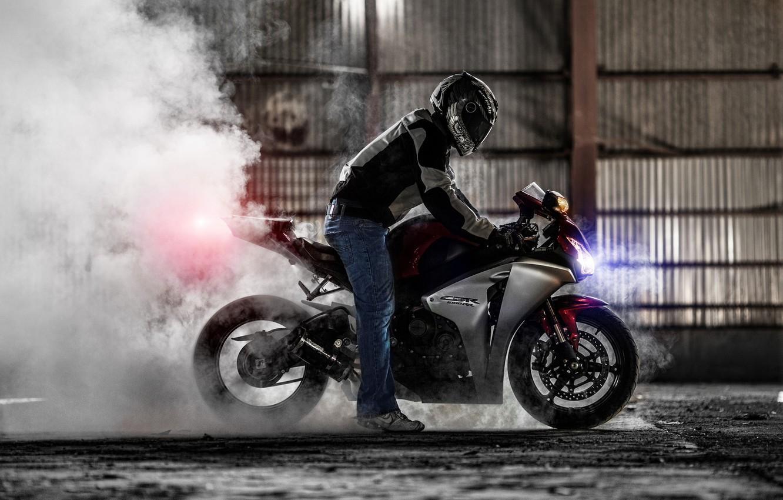 Photo wallpaper smoke, motorcycle, Honda, burnout, superbike, sportbike, honda cbr 1000rr