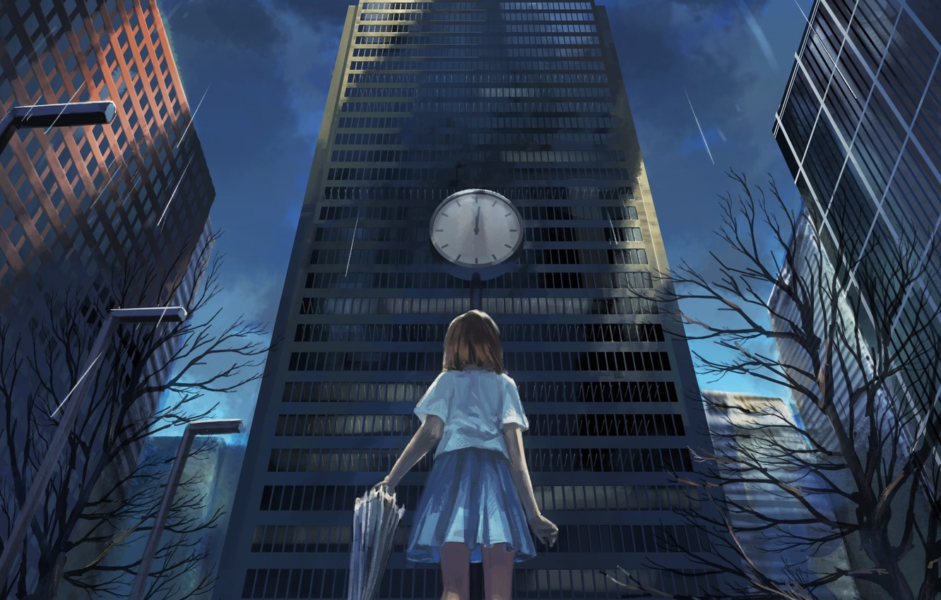 Photo wallpaper rain, watch, building, home, umbrella, anime, art, girl