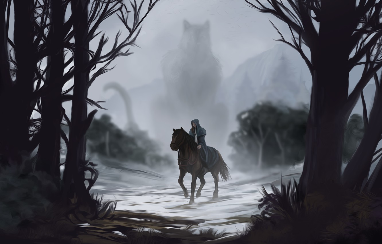 Photo wallpaper look, water, trees, fog, horse, art, tail, silhouette. being