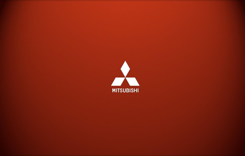 Photo wallpaper Minimalism, Logo, Mitsubishi, Red, Logo, Brand, Car Brand