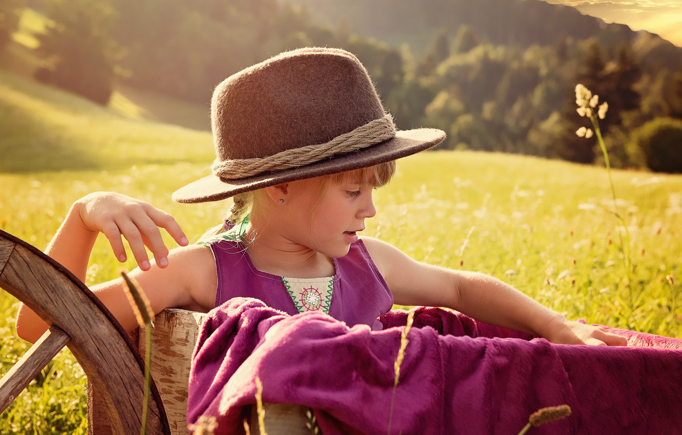 Photo wallpaper summer, nature, meadow, girl, hat, cart, child