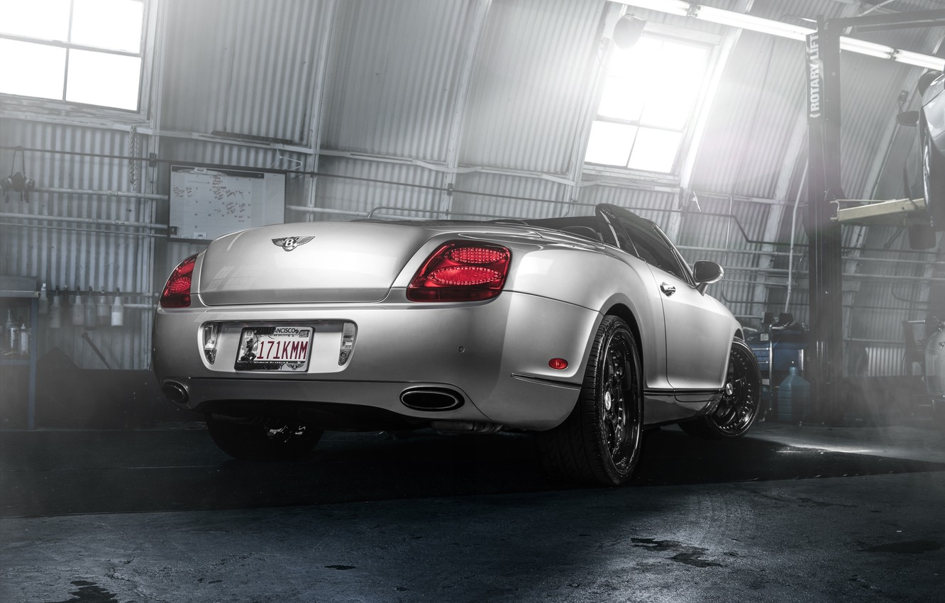 Photo wallpaper Bentley, Continental, Car, Forged, GTC, Silver, Wheels, Rear, Strasse