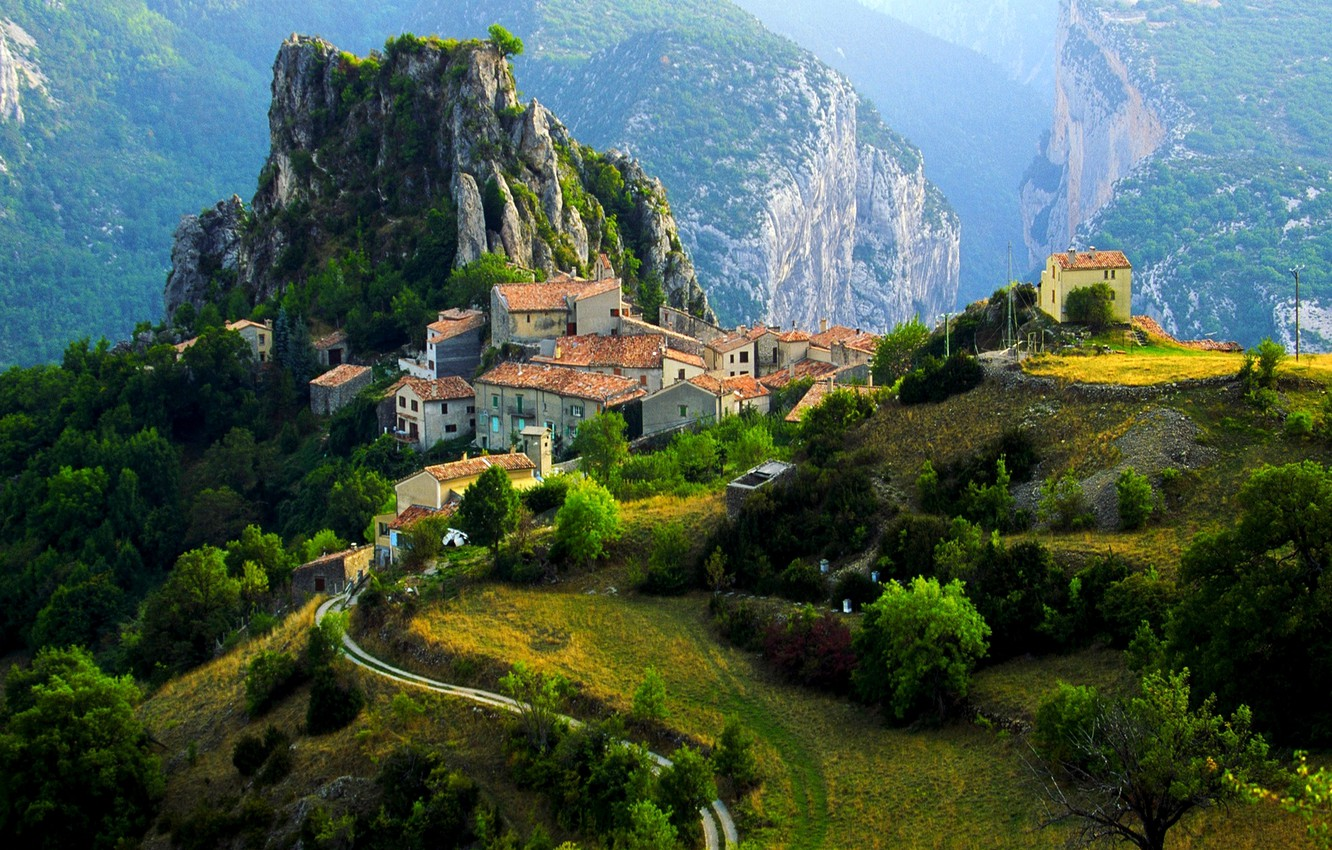 Photo wallpaper mountains, France, home, village, Alps, town