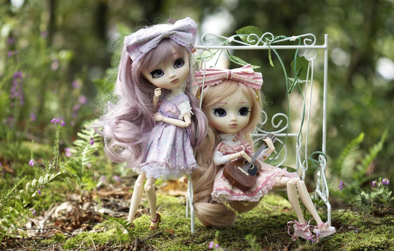 Photo wallpaper nature, swing, girls, toys, guitar, doll