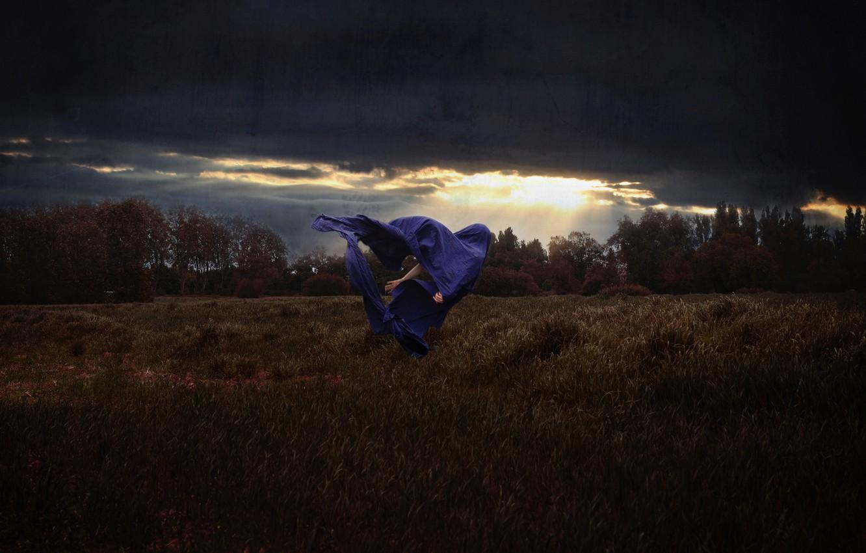 Photo wallpaper field, the sky, the wind, silhouette, art