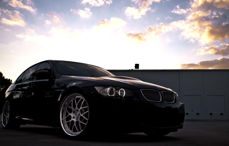 Photo wallpaper the sky, clouds, sunset, black, BMW, BMW, black, Sedan, E90